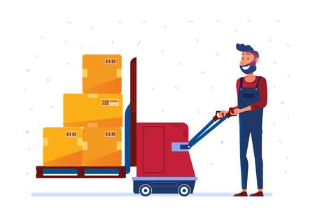 Il magazziniere sta caricando scatole con sollevatore elettrico. Uomo con macchine innovative come concetto di magazzino moderno e tecnologia logistica. Vector design piatto illustrazione su sfondo bianco.