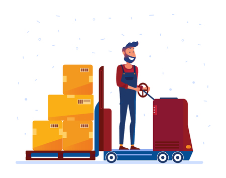Warehouse worker moving boxes with electric forklift truck. Man with innovative machines as a concept of modern warehouse and logistics technology. Vector flat design illustration on white background. Illustration