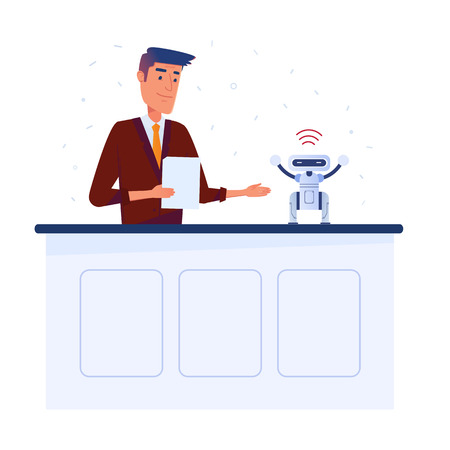 Caucasian man inventor sets up small robot with tablet via wi-fi connection. Smart robot operated with digital tablet as a concept of robotization. Vector flat design illustration on white background. Illustration