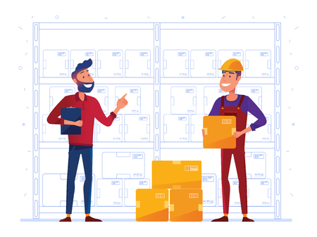 Warehouse workers are storing boxes on the rack. Happy supervisor and worker near the storage racks as a concept of convenient warehouse and logistics hub. Vector illustration on white background.