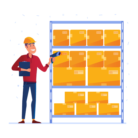 Warehouse worker is checking the boxes with QR code scanner. Man using IoT device in the warehouse as a concept of modern industry and logistics technology. Vector illustration on white background. Illustration