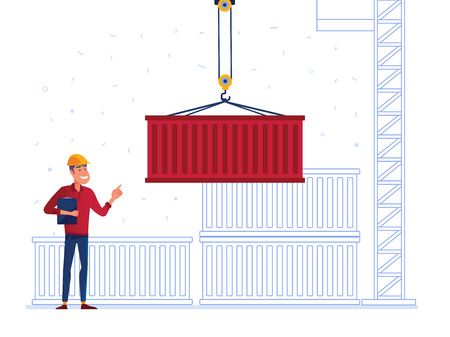 Port warehouse worker is receiving the container. Man controling port crane with cargo container as a concept of modern warehousing services and logistics technology. Vector illustration on background