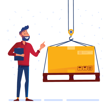 Warehouse worker is receiving the pallet with heavy box. Man controlling crane with heavy load as a concept of modern warehousing services and logistics technology. Vector illustration on background. Ilustração