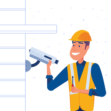 Security company employee with a screwdriver in a hand installs security camera on the building wall. Safety and surveillance concept. Vector flat design illustration on white background.