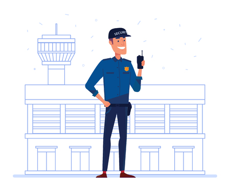 Security company employee with portable radio in front of airport building. Guard, safety, protection and external security concept. Vector flat design illustration on white background.