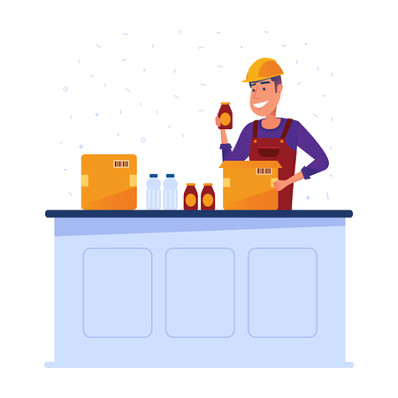 Warehouse worker packing goods in boxes. Happy man manually carrying goods in different boxes. Concept of lean storage and safe logistics. Vector flat design illustration on white background. Ilustração