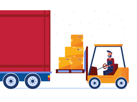 Warehouse worker is loading truck with modern forklift. Man with innovative machines as a concept of hi-tech warehouse and logistics technology. Vector flat design illustration on white background.