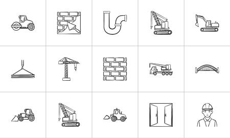 Icône de croquis de construction pour le web, mobile et infographie. Jeu d'icônes de vecteur de construction dessiné main isolé sur fond blanc.