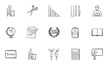 Education outline doodle icon set for print, web, mobile and infographics. Hand drawn learning vector sketch illustration set isolated on white background.