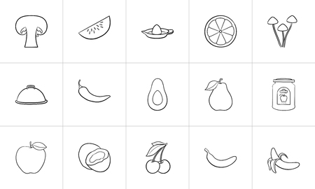Healthy food hand drawn outline doodle icon set for print, web, mobile and infographics. Food vector sketch illustration set isolated on white background.