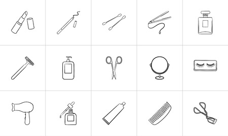 Beauty accessories sketch icon set for web, mobile and infographics. Hand drawn beauty accessories vector icon set isolated on white background. 일러스트