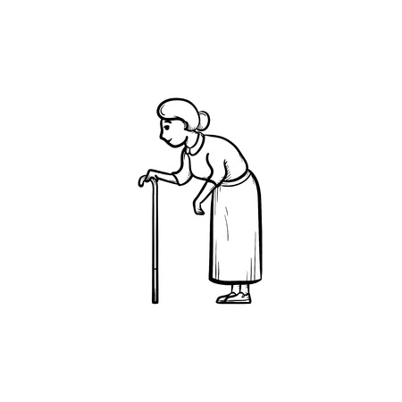 An old woman with cane hand drawn outline doodle icon. Weak female with walking stick in old age vector sketch illustration for print, web, mobile and infographics on white background. Illustration