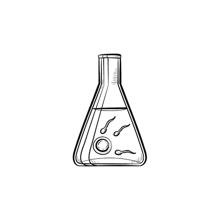 Sperms and egg in lab tube hand drawn outline doodle icon. In vitro fertilization, infertility and reproduction vector sketch illustration for print, web, mobile and infographics on white background. Banque d'images - 102438884