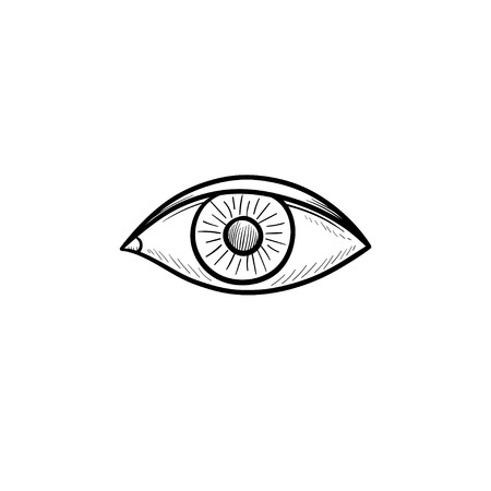 An eye hand drawn outline doodle icon. Eye iris and humans sight concept vector sketch illustration for print, web, mobile and infographics on white background. Banco de Imagens