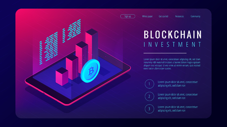 Isometric blockchain investment landing page concept. Tablet with 3d charts graphics of financial growth statistics and bitcoin in violet. Cryptocurrency investment. Vector ultraviolet background. Ilustração