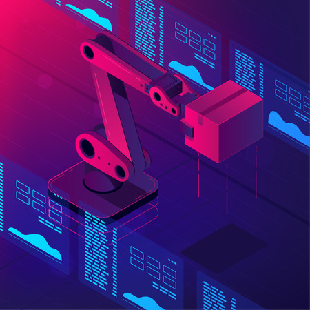 Isometric automated robot arm. Smart automated robotic arm holding box in a warehouse. Modern logistics center in vibrant gradient violet color. Vector 3d isometric illustration ultraviolet background Vectores