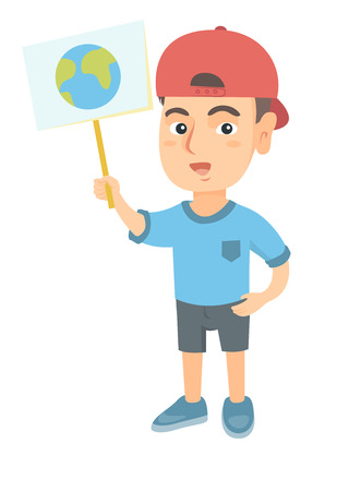 Caucasian boy in a cap holding a placard with planet. Full length of eco-friendly little boy with a placard with earth at the rally. Vector sketch cartoon illustration isolated on white background.
