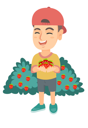 Caucasian boy in a cap holding the berries of fresh strawberries in his hands. Little cheerful boy with handful of strawberries. Vector sketch cartoon illustration isolated on white background.