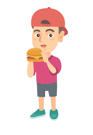 Little caucasian boy eating a hamburger with appetite. Cheerful boy holding a big hamburger. Vector sketch cartoon illustration isolated on white background. Ilustracja