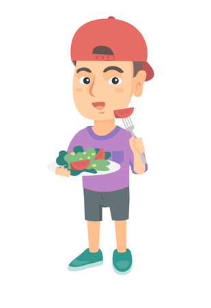 Little caucasian boy holding fork with tomato and plate with salad. Full length of cheerful boy eating vegetable salad. Vector sketch cartoon illustration isolated on white background.