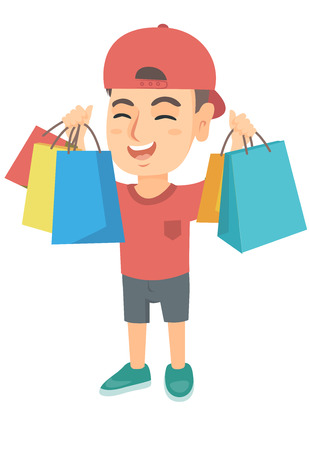 Caucasian boy holding many shopping bags. Happy boy standing with raised hands and showing a lot of shopping bags with purchases. Vector sketch cartoon illustration isolated on white background.