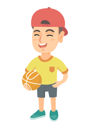Caucasian cheerful schoolboy laughing and holding a basketball ball. Happy smiling little schoolboy with a basketball ball. Vector sketch cartoon illustration isolated on white background.