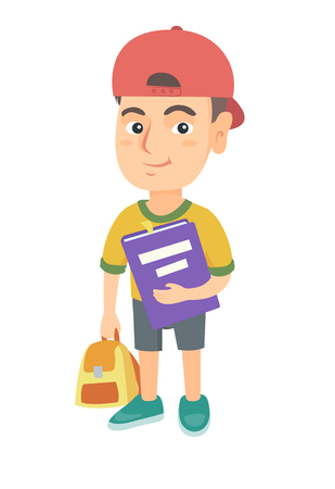 Caucasian pupil with backpack and tutorial. Full length of smiling happy pupil holding textbook and backpack in hands. Vector sketch cartoon illustration isolated on white background.