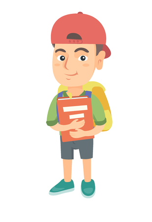 Caucasian schoolboy with backpack and textbook. Smiling happy schoolboy hugging a textbook. Vector sketch cartoon illustration isolated on white background.