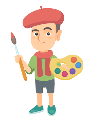 Caucasian boy dressed as an artist holding brush and paints. Little artist wearing hat and scarf and drawing with paints and brush. Vector sketch cartoon illustration isolated on white background.