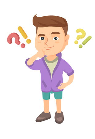 Caucasian boy standing under question marks and exclamation points. Pensive boy thinking with question and exclamation marks overhead. Vector sketch cartoon illustration isolated on white background.