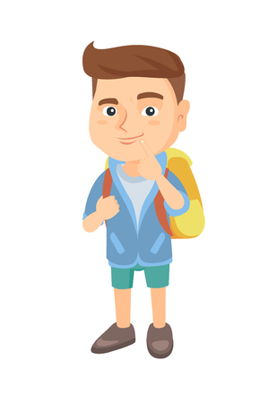 Thoughtful little boy thinking and holding finger on his chin. Caucasian little boy with school bag thinking. Vector sketch cartoon illustration isolated on white background.
