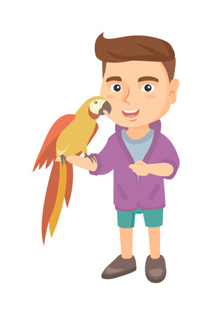 Caucasian smiling boy playing with his pet parrot. Full length of little boy holding parrot on his hand. Vector sketch cartoon illustration isolated on white background.