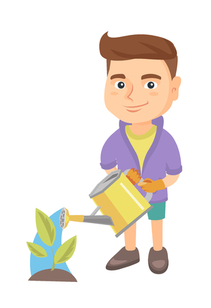 Caucasian boy wearing garden gloves and watering plant with a watering can. Little boy gardening and watering a plant. Vector sketch cartoon illustration isolated on white background. Illustration