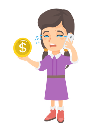 Caucasian girl crying while talking on smartphone and holding gold coin in hand. Little business girl with smartphone and golden coin. Vector sketch cartoon illustration isolated on white background