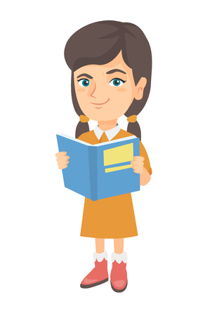 Little caucasian schoolgirl reading a book. Smiling schoolgirl holding a story book in hands. Concept of education. Vector sketch cartoon illustration isolated on white background.