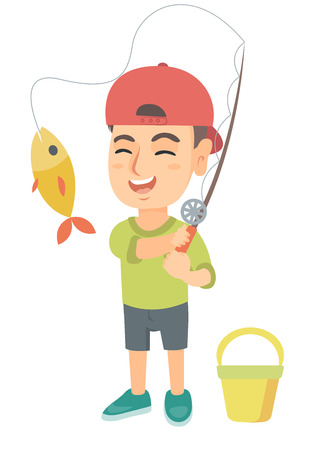 Cheerful caucasian little boy fishing. Smiling boy standing near the bucket for fish and holding fishing rod with fish on a hook. Vector sketch cartoon illustration isolated on white background.