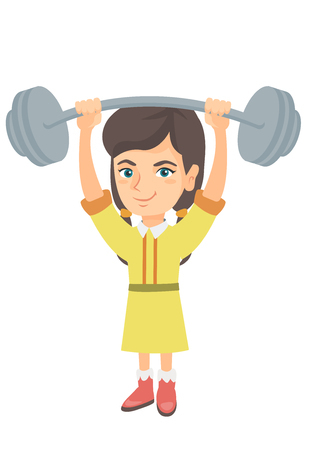 Strong caucasian child lifting a heavy weight barbell. Little girl in sportswear training with barbell. Happy girl holding a barbell. Vector sketch cartoon illustration isolated on white background.