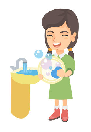 Happy little caucasian girl washing dishes in the sink. Smiling girl doing dishes and having fun with helping parents with housework. Vector sketch cartoon illustration isolated on white background.