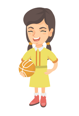 Caucasian cheerful schoolgirl laughing and holding a basketball ball. Happy smiling little schoolgirl with a basketball ball. Vector sketch cartoon illustration isolated on white background.