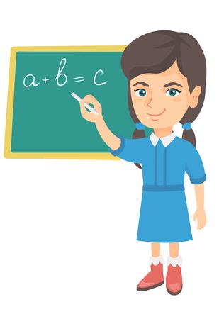 Caucasian schoolgirl writing mathematical formula on the classroom blackboard. Smiling schoolgirl writing on the blackboard with chalk. Vector sketch cartoon illustration isolated on white background. Stock Illustratie