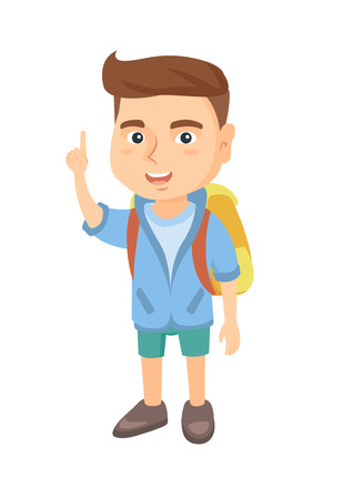 Cheerful caucasian boy pointing his forefinger up. Full length of happy smiling boy pointing forefinger up. Vector sketch cartoon illustration isolated on white background. Illustration