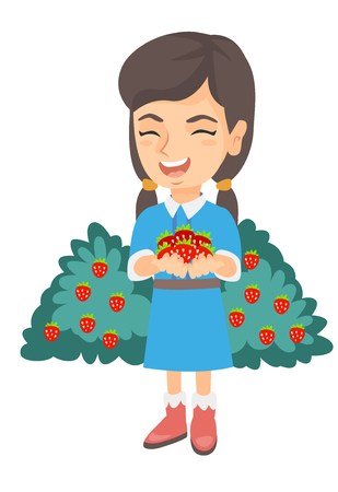 Caucasian girl holding the berries of fresh strawberries in her hands. Little cheerful girl with handful of strawberries. Vector sketch cartoon illustration isolated on white background.