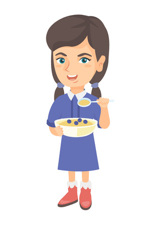 Happy caucasian girl holding a spoon and bowl of porridge with blueberries. Little girl eating porridge for breakfast. Vector sketch cartoon illustration isolated on white background.
