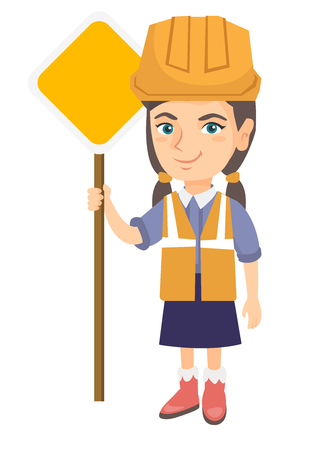 Little caucasian builder girl holding road sign. Smiling girl in a builder reflective vest and hard hat standing near road sign. Vector sketch cartoon illustration isolated on white background.