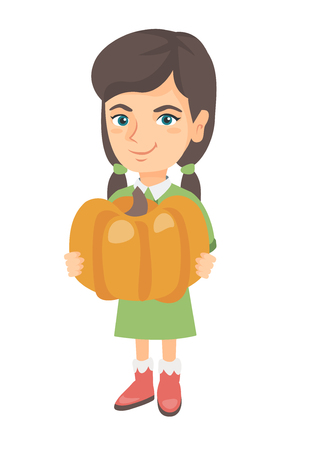 Cheerful caucasian girl standing with a big orange pumpkin in hands. Happy smiling girl picking a pumpkin for Halloween. Vector sketch cartoon illustration isolated on white background. Standard-Bild - 102551512