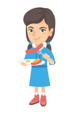 Little caucasian girl eating sausage and fried egg for breakfast. Young smiling girl holding fork and plate with sausage and fried egg. Vector sketch cartoon illustration isolated on white background.