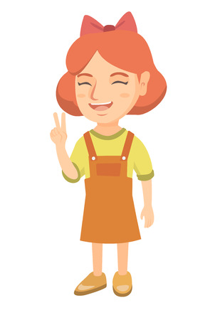 Caucasian girl showing victory gesture. Little girl showing victory sign with two fingers. Vector sketch cartoon illustration isolated on white background. Illustration