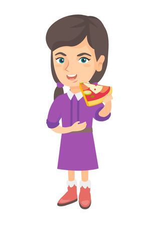 Cheerful caucasian girl eating tasty pizza. Full length of little girl holding a piece of pizza in hand and stroking her belly. Vector sketch cartoon illustration isolated on white background Çizim