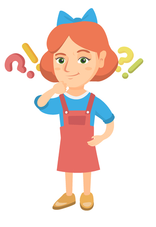 Caucasian girl standing under question marks and exclamation points. Pensive girl thinking with question and exclamation marks overhead. Vector sketch cartoon illustration isolated on white background