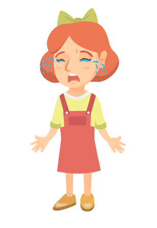 Sad caucasian girl sobbing. Full length of desperate little girl crying with mouth wide open. Vector sketch cartoon illustration isolated on white background.